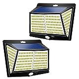 Luces Solares Exteriores, 2PCS LED Luces de Seguridad con Sensor de Movimiento, 3 Modos de 270 ° Iluminación, IP65 Lámpara de Pared Solar Impermeable para Jardín, Terraza, Patio, Garaje
