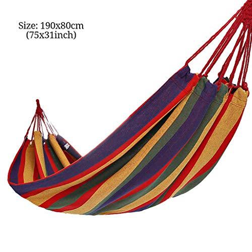 Camping Hangmat, Draagbare Single Katoenen Hangmat Sneldrogend Stevig Belastbaarheid Tot 100kg Bbinnen- Buitenshuis Strand Toerisme Vrije Tijd Schommel-A-190x80cm(75x31inch)