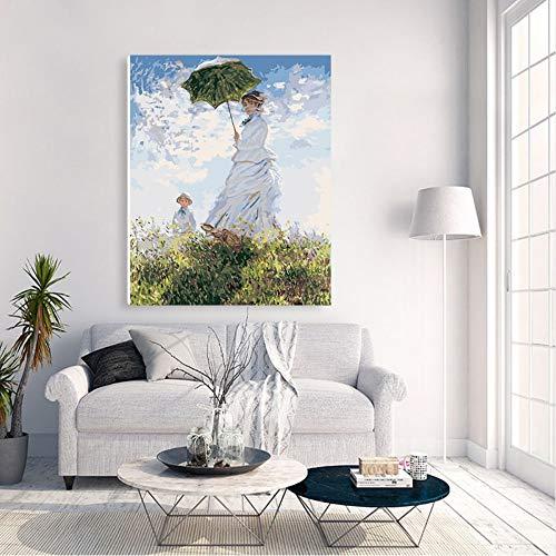 Xyywqybg Malen Nach Zahlen Kunst Malen Nach Zahlen Diy Impression Malen Frau Regenschirm Frau-40X50Cm, Combo Box