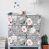 Alwayspon Rose Flower Adhesivos para el aparador IKEA Malm, pegatinas delanteras de cajón extraíbles, Peel and Stick Muebles Sticker Skin, 3 piezas x 80 x 20 cm