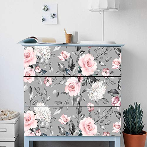 Alwayspon Rose Flower Decals For Ikea Malm Dresser Removable Drawer Front Stickers Peel And Stick Furniture Sticker Skin 3 Pcs X 31 6 X7 9