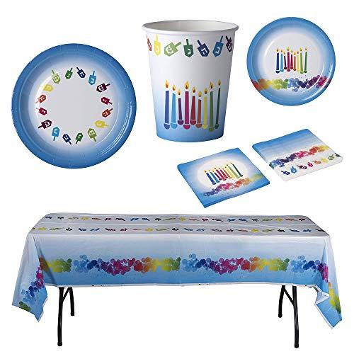 "Hammont Chanukah Themed Party Supplies Bundle - Hanukkah Paper Napkins - Disposable Table Cloth - 7"" & 9"" Paper Plates - Paper Cups | Ideal for Chanukah Theme Parties and Festival"
