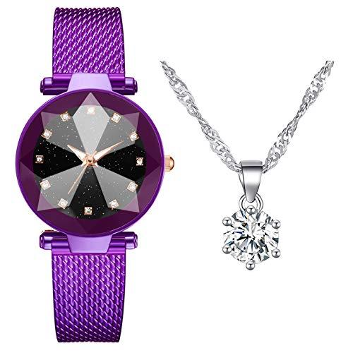 XTBL Damen Armbanduhr Uhren Analog Quarz Uhr Set Schmuck Set Halskette Luxusuhren Einfachheit Armbanduhr für Frauen Mutter MädchenMuttertag Elegant GeschenkUhrweiblich Chronograph