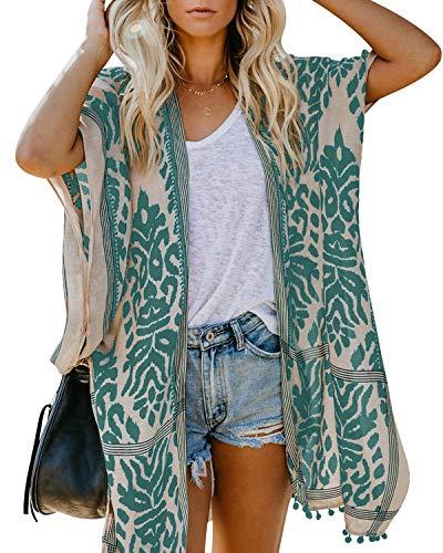 ASALWAYS Damen Chiffon Cardigan Bohemian Print Bikini Cover Up Offene Front Strands Kleidung Lose Kimono Pom Pom Beach Cover Up