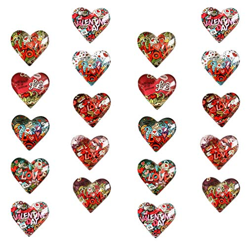 Happyyami 20Pcs Glass Heart Cabochons Cartoon Love Pattern Patches Time Gem Tiles Non-calibrated Stickers for Cameo Pendants Photo DIY Jewelry Necklaces Crafting 18mm