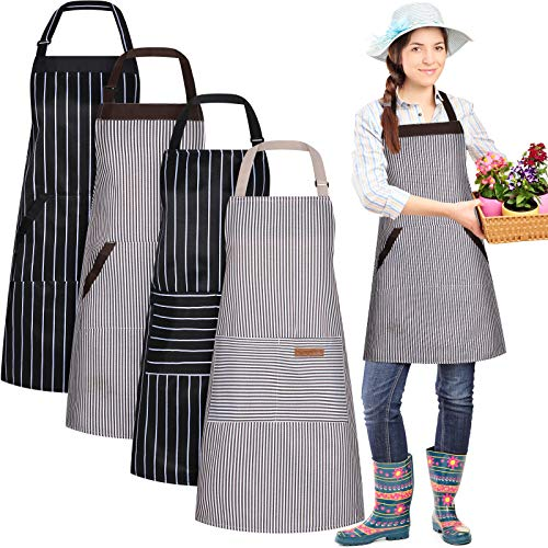 4 Piece Kitchen Cooking Aprons, Adjustable Bib Chef Apron with 2 Pockets for Men Women Chef Apron, Cooking Kitchen Aprons, Two Striped Styles, Black and Brown Stripes