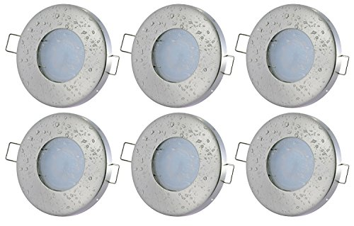 6er Set Bad Einbaustrahler Aqua IP65 5Watt LED 450Lumen 3000Kelvin Warmweiss 230Volt GU10 120Grad Abstrahlwinkel Badezimmer Dusche Einbauleuchte