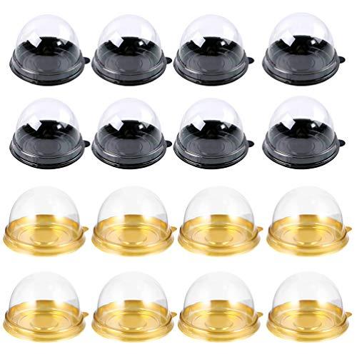 Cabilock 200 Piezas de Reutilizable Plástico Transparente Mini Caja de Pastel Galletas Muffins Caja de Domo Muffin Pod Domo Muffin Caja de Un Solo Contenedor Caja de Regalos de Cumpleaños de Boda