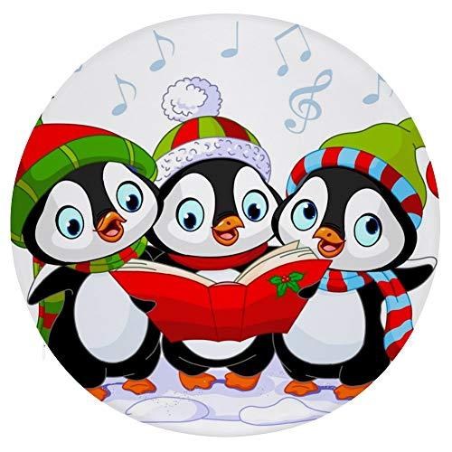 Mesllings Sitzkissen mit drei Cartoon-Pinguinen mit Weihnachtsmützen, bedruckt, modisch, rund, bequem, fürs Büro, weiches Kissen – Durchmesser 39 cm