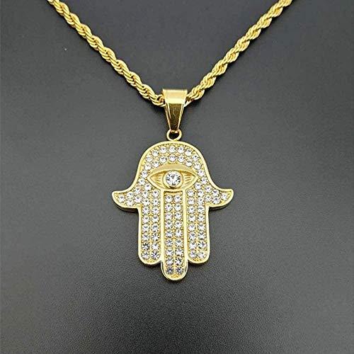 FACAIBA Collar Hip Hop Iced out Hamsa Mano de Fátima Colgante Collar Hombre Oro Color Acero Inoxidable Mal de Ojo Collares joyería árabe