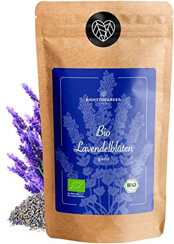 BIO Lavendelblüten - Lavendel getrocknet - ganze Blüten für Tee, Lavendelsäckchen, Duftsäckchen oder Essen - 100% rein und Bio - per Hand geprüft und abgefüllt in Deutschland   80degrees (150g)