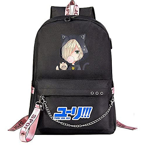 Zaino Anime YURI!!! su ICE Youth School Bag Black giapponesi Borse da scuola Zaini Casual, Zaino Unisex Adulto