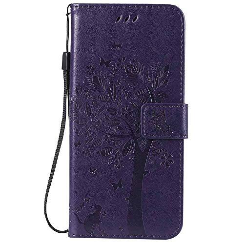 RZL Teléfono móvil Fundas Durante 7 6 6s 5s iPhone XS XS MAX XR X 8 Plus, Caja de Cuero para el iPhone árbol 3D MAX XS XS XR X Plus 8 7 6 6s 5s (Color : Purple, Material : For i7 Plus i8 Plus)