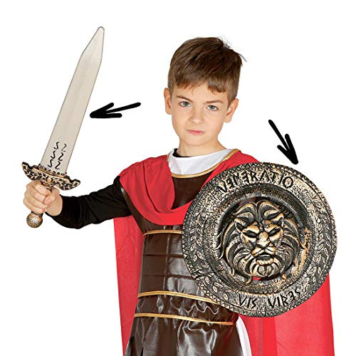 Amakando Autentica Espada de Romano con Escudo para niños/Antiguo Escudo Protector y Espada/El Punto Alto para Carnaval Infantil y Fiesta Infantil