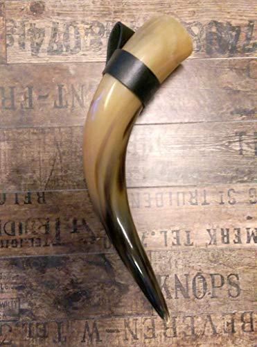 1 Trinkhorn Cnuth mit Halter ca. 0,7 Liter 35-45 cm poliert und versiegelt-für Met-Wikinger-LARP- Mittelalter-Drinking Horn-Methorn Germanenhorn Ostern Wikinger