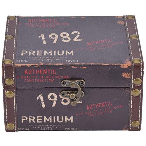 HERCHR Caja de Madera, Caja de Regalo Cofre del Tesoro Pirata de Estilo Vintage, joyero con candado para tocador 16 x 12.5 x 9 cm
