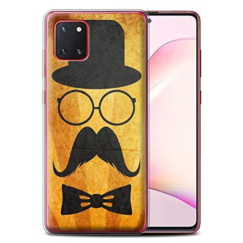 Stuff4 Telefoonhoesje voor Samsung Galaxy Note 10 Lite 2020 Retro Moustache Stuur/Bril Ontwerp Transparant Helder Ultra Zachte Flexi Siliconen Gel/TPU Bumper Cover