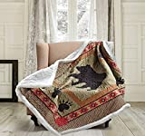 Quilted Sherpa Throw Blanket by Virah Bella - 50' x 60' Bear and Paw Lightweight Throw Quilt Great for Loungers & Extra Bedding - Beautiful Lodge-Themed Blanket