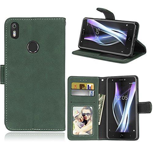 BQ Aquaris X/X Pro Hülle, SATURCASE Retro Mattiert PU Lederhülle Magnetverschluss Flip Brieftasche Handy Tasche Schutzhülle Handyhülle Hülle mit Standfunktion für BQ Aquaris X/X Pro (Grün)