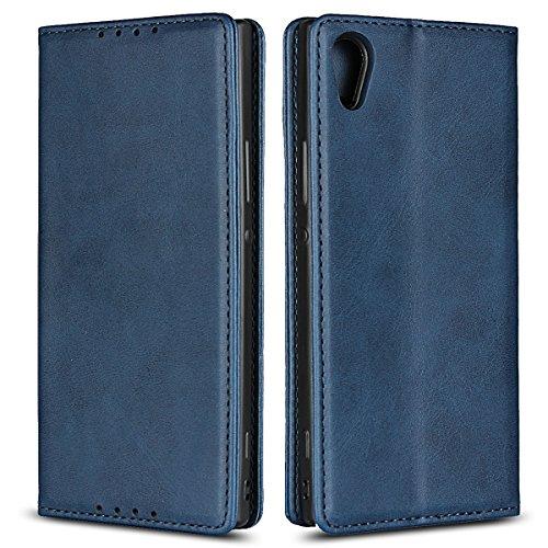 Copmob Sony Xperia XA1 hülle,Premium Flip Leder Geldbörse mit weichem TPU-Shock Absorption,[3 Kartensteckplatz][Ständerfunktion][Magnetschnalle] - Blau