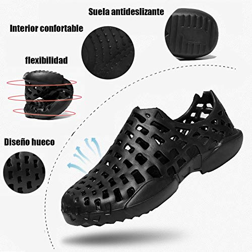 BOTEMAN Unisex Zuecos Zapatillas de Playa Piscina Respirable Ahueca hacia Fuera Las Sanitarios Goma Verano de Trabajo Sandalias