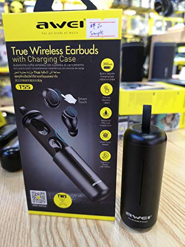 AWEI T5 TWS Bluetooth Earphone Headphone with Mic True Wireless Earbuds Bluetooth 5.0 Headset with Charge Case for Phone/iPhone (Black)