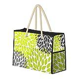 Bolsas de playa para mujer Chartreuse verde gris Dahlia Mod grande playa bolsa de viaje bolsa de almacenamiento bolsa de semanario bolsa de hombro bolsa de playa para viajes gimnasio
