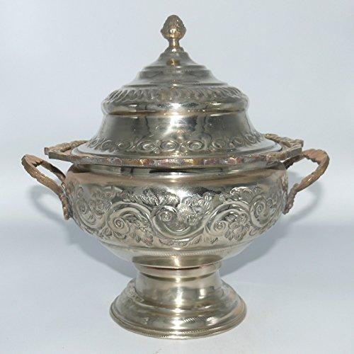 Antike Metall Dose Bonboniere Schatulle Zierdose versilbert - 905776-0034