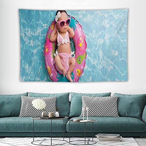 wonderr Baby Tapestry for Men Dorm Room Nine Days Old Girl Sleeping on Tiny Inflatable Ring Crocheted Bikini Sunglasses Tan Multicolor W57x L74 Inches