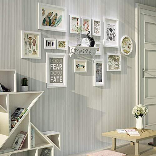 witte fotolijst, zwart en wit, van massief hout, voor foto, wand, mode, om op te hangen, voor foto, wand, creatief, woonkamer (maat: A)