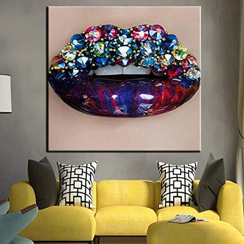 NIMCG Labios de Piedras Preciosas de Color Decoración para el hogar Arte de la Pared Imagen de Lienzo Obraz Cartel Vintage Pop Art Cuadros Decoracion 30x45CM (Sin Marco)