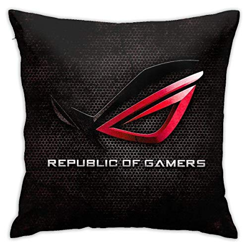 HOJJP Rog - Republic of Gamers Hq Home Decorative Throw Pillow Covers for Sofa Couch Cushion Pillow Cases 18x18 Inch