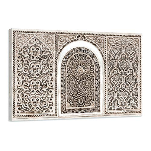 Cuadro oriental árabesco – Decoración de pared árabe – 90 x 60 cm y 120 x 80 cm – Impresión en lienzo de alta resolución – Lienzo estirado sobre un marco de madera, madera papel, 120 x 80 cm