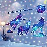 Wandaufkleber Fluoreszierend Sternenhimmel & Wolf Wandtattoo, AUHOTA Removable Wandsticker Leuchtsticker Wanddekoration Geschenk für Kinderzimmer Kindergarten Baby Schlafzimmer Wohnzimmer