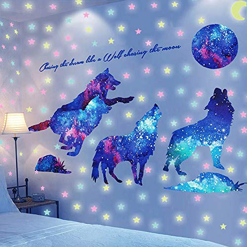 Creative Starry Sky Wolf Wall Decal, AUHOTA Glow in The Dark Moon& Stars Wall Stickers, Removable Galaxy Wolf Adhesive Mural Wallpaper for Kids Teen Bedroom Nursery(W)