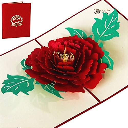 Royal Star TY Encima de la Tarjeta del día de Madres Peony 3D Pop Regalo de cumpleaños con la Etiqueta engomada de la Flor de Corte por láser de la invitación Tarjeta de felicitación Postal