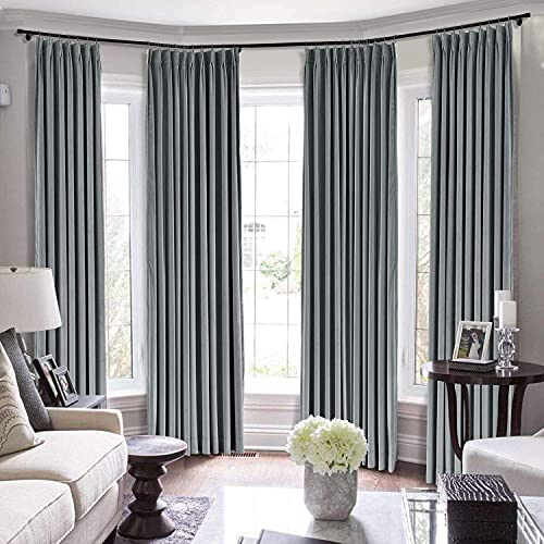 Extra Long Curtains 2 Story Window Hall Theater Room Office Room Partition Attractive Double Pinch Pleat Draperies (Dark Grey, 60 Inch Wide by 132 Inch Long- 1 Panel)
