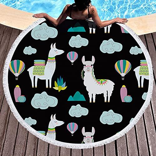 WYZDQ Toalla De Playa Redonda De Llama Boho Gruesa, Manta De Círculo De Llama, Regalo De Llama, Toalla De Círculo Tropical, Plantas Verdes, Redondo, 59', Tapiz De Tapete De Yoga con Borla,B