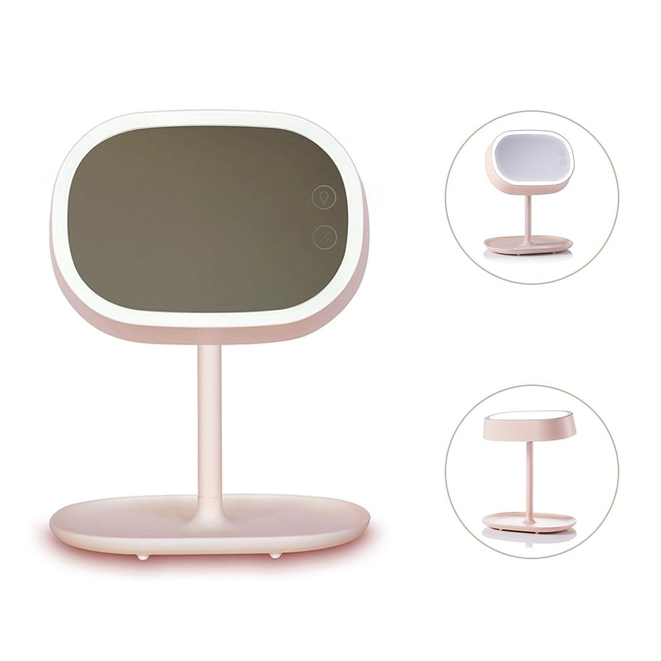 キリンメガロポリス慣習Ichic 卓上LED化粧鏡 メイクミラー ベッドサイドランプ 180度回転 明るさ調節可能 USB充電
