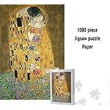 クラシックパズルゲーム グスタフ・クリムト接吻1000ピースペーパージグソーパズル大人キッズカラフルな解凍のおもちゃホームデコレーション 頑丈で簡単