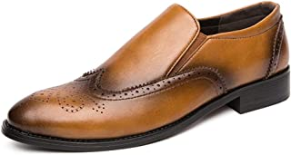 XueQing Pan Business Oxford for Men Brogue Shoes Slip On Elastic Bands PU Upper Personality Sewing Round Toe Wingtip Block Heel Vintage (Color : Gold, Size : 6 UK)