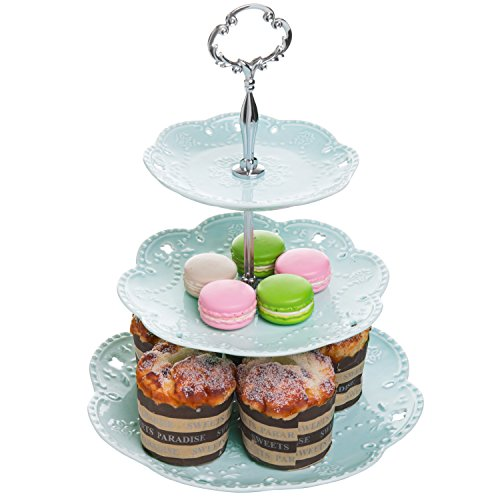 Pastel Turquoise Ceramic 3 Tier Dessert Stand Server/Cupcake Tower/Appetizer Serving Tray - MyGift