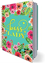 Boss Lady Motivational Spiral Notebook Lined Journal, Inspirational Diary Gift for Boss, Women, Girls, Friend, Colleague,Hardcover with Gold Foil Words,