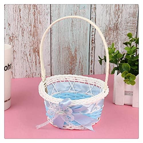 JEZZ Bambus Aufbewahrungskorb Bogen Simulation Obst Rattan Aufbewahrungsbox Kosmetik Tee Picknickkorb Aufbewahrungsbox handgefertigt (Color : Blue)