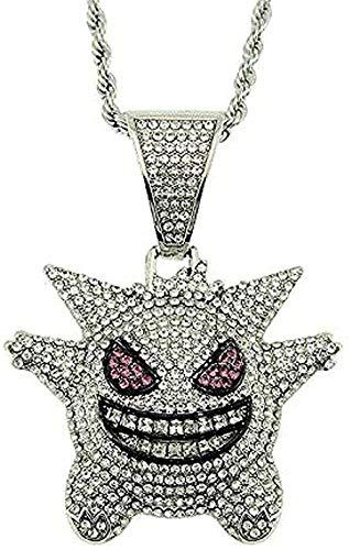 Collar, collar, joyería, hombres, Rock Punk, helado, brillante, máscara de Cz, collar con colgante de toro vampiro Gengar para mujeres y hombres