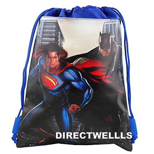Batman Vs Superman Dawn Justice Authentic Licensed Drawstring Bag Backpack (Blue)