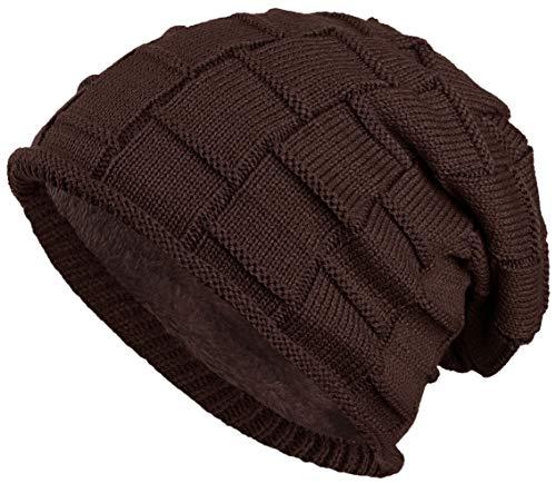 warm gefütterte Beanie mit Teddy-Fleece Wintermütze Flechtmuster Einheitsgröße für Damen & Herren Mütze (Dunkelbraun)