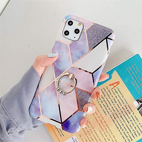 N\A Carcasa para iPhone 12 Pro Max de Shlank, brillante, suave, de gel de goma TPU, con anillo de soporte de 360 grados, resistente, piedra, mármol