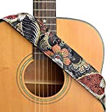 CLOUDMUSIC Guitar Strap For Acoustic Electric Embroidered Jacquard Vintage Floral Patterns(Flowers In Black)