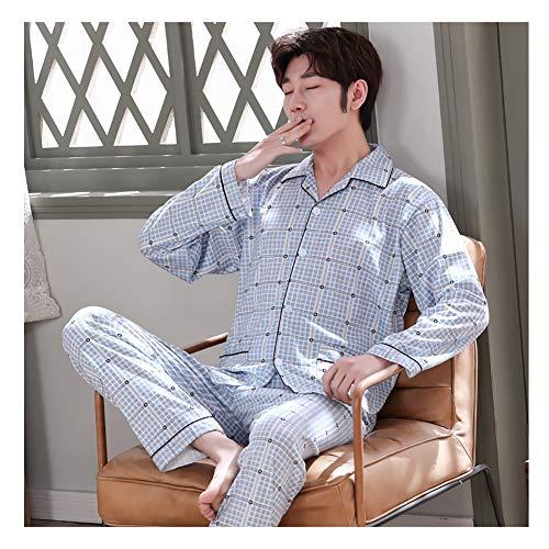 LASIMAO Set de Pijamas para Hombres, Conjunto de Ropa de Mujer, Ropa de Dormir de Manga Larga, Robo y cómodo Ropa de salón con Botones, Solapa, Juego de Pijama,Q,XL